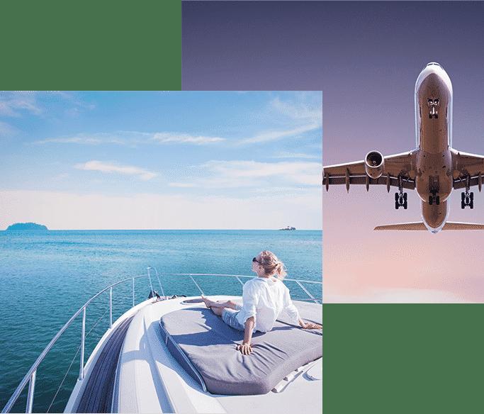 Aeroplane and Boat Image